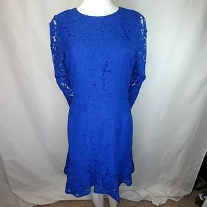 J. Crew Floral Lace Long Sleeve Fit & Flare Dress